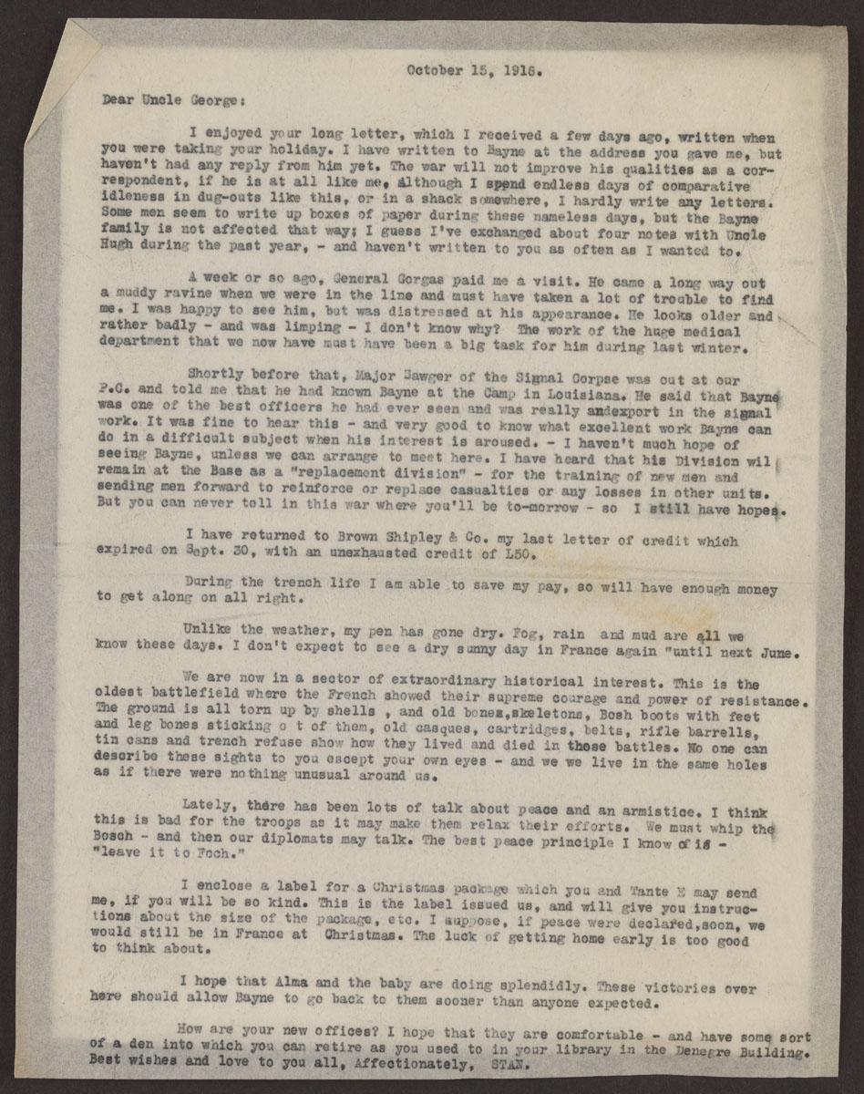 Bayne Jones Letter 10 15 1918